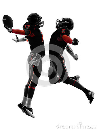 Free Two American Football Players Touchdown Celebration Silhouette Stock Photography - 35144232