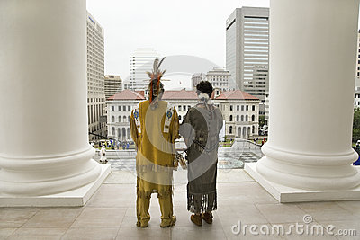 Two American Indian and Powhatan Tribal member Editorial Stock Photo