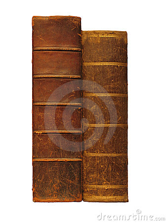 Free Two Antique Books, Isolated On White Stock Photo - 8485630