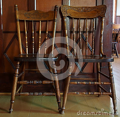 two antique pressback chairs stock photo image 32215360. Black Bedroom Furniture Sets. Home Design Ideas