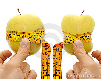 Two apple anche measurement tape, dieting concept