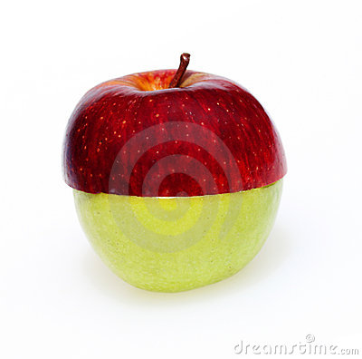 Two apple halves combined