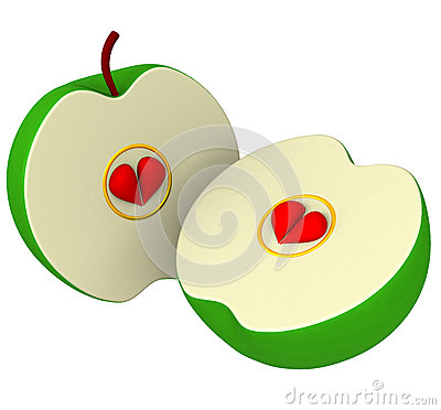 Free Two Apple Halves With Seeds As Hearts 3d Stock Photography - 26251972