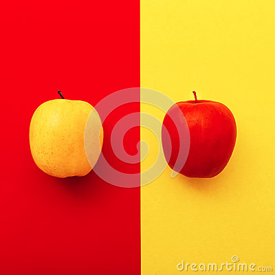 Free Two Apples On Bright Backgrounds.  Geometry Minimal Style Stock Photography - 58945872