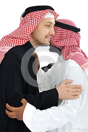 Two Arabic men having warm