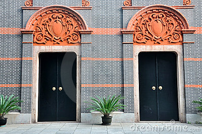 Two architecture door with carve detail