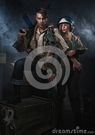 Free Two Armed Man With A Weapon. Royalty Free Stock Photos - 64866128