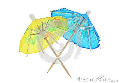 Two asian cocktail umbrellas