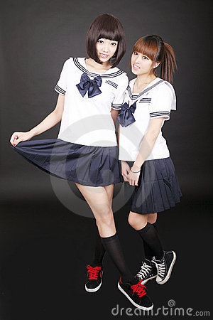 Two Asian schoolgirls