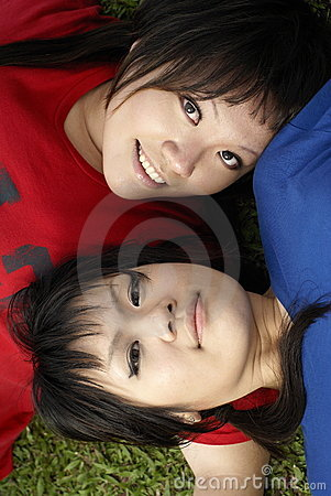 Two asian teen girls portrait
