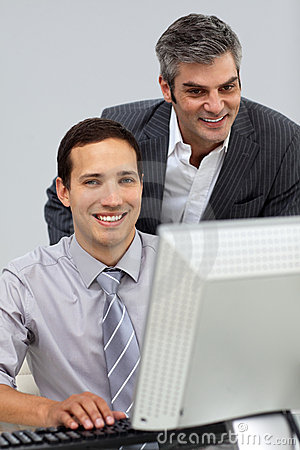 Two assertive businessmen working together
