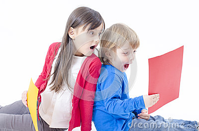 Two astonished kids