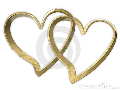 Two attached golden hearts