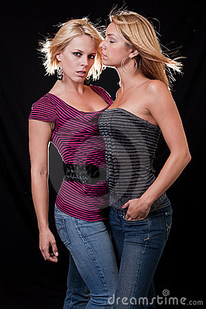Two attractive blond caucasian women