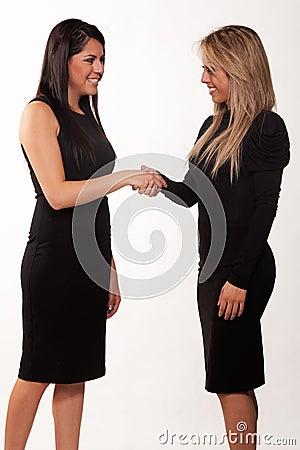 Two attractive hispanic twenties businesswomen
