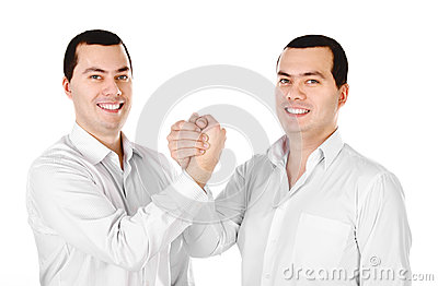Two attractive positive smile young men twins isolated
