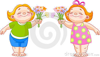 Two babies with bouquets