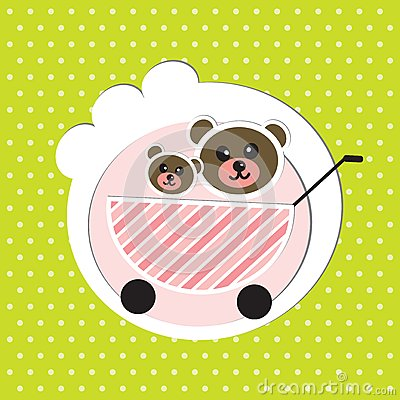 Two baby bears brothers in baby carriage