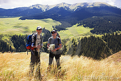 Two backpackers in the mountain