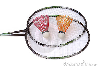 Two badminton racquets with shuttlecocks