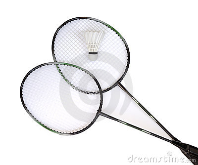 Two badminton racquets with white shuttlecock