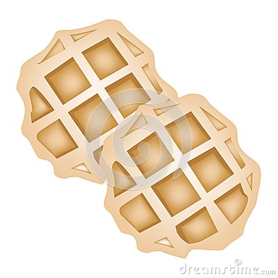Free Two Baked Round Waffles On White Background Royalty Free Stock Photo - 30079865