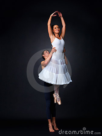Two ballet dancers performing
