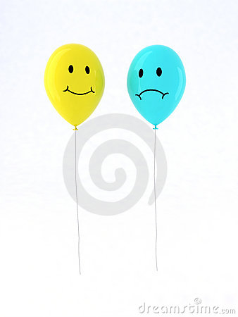 Two balloon with emoticons