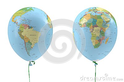 Two balloons with a picture of the political map
