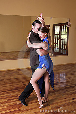 Free Two Ballroom Dancers Practicing In Their Studio Stock Photography - 3729052