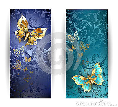 Free Two Banners With Gold Butterflies Royalty Free Stock Photos - 48879418