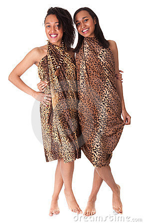 Two barefoot girls in animal print
