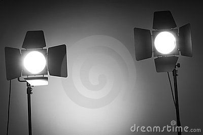 Two barn door lights in  studio