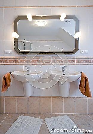 Two basins in bathroom