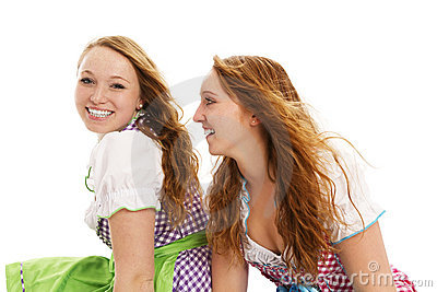 Two bavarian girls looking