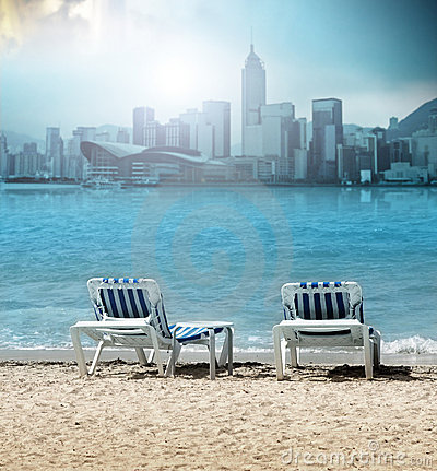Beach Chairs on Two Beach Chairs Stock Photo   Image  19304940