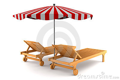 Two beach chairs and umbrella isolated on white