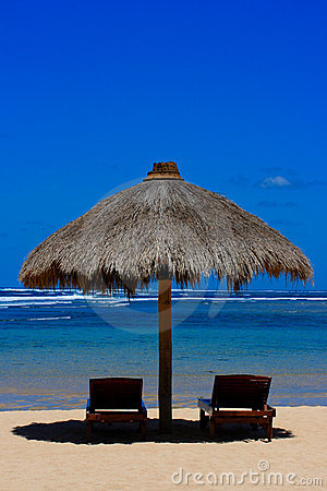 Free Two Beach Chairs Under Awning Stock Images - 3330024