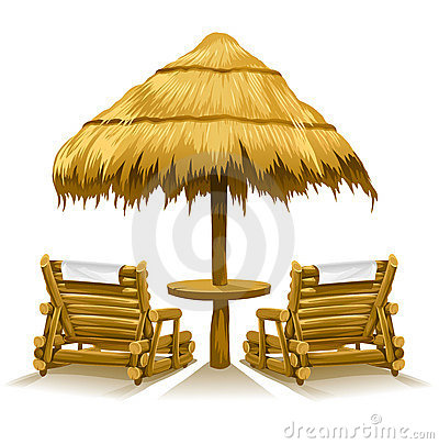 Free Two Beach Deck-chairs Under Wooden Umbrella Royalty Free Stock Photos - 9171968
