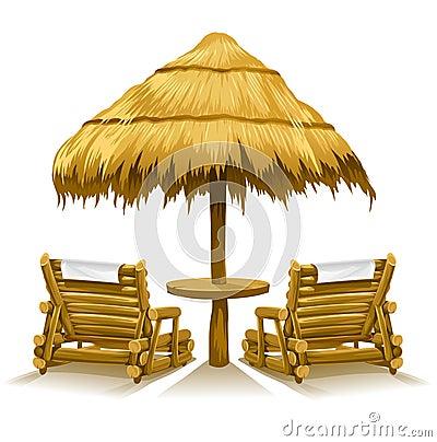 Two beach deck-chairs under wooden umbrella