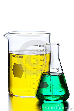Two Beakers with Green and Yellow Liquids
