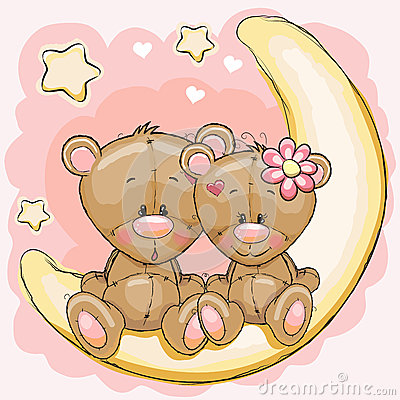 Free Two Bears On The Moon Royalty Free Stock Photography - 56567787