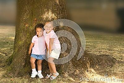 Two beautiful ethnic sisters little girls