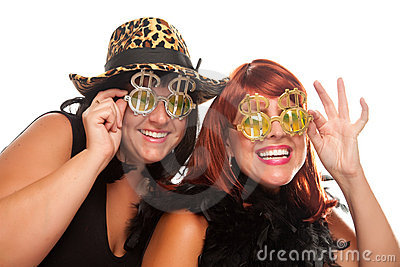 Two Beautiful Girls with Bling Dollar Glasses