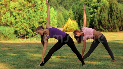 Two beautiful girls doing yoga. In the park