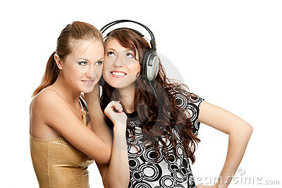 Two Beautiful Girls Listening Music