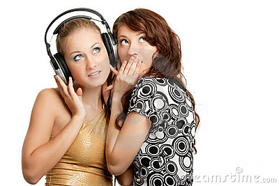 Two Beautiful Girls Listening Music