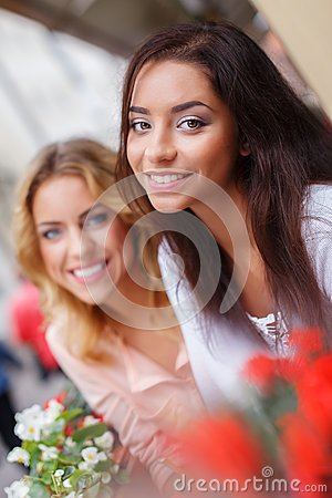 Two beautiful girls outdoors