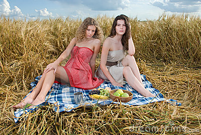 Two beautiful girls on picnic