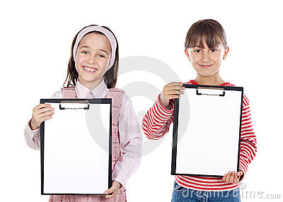 Two beautiful girls student with notepad